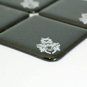 Stag design in white, on green aventurine coaster set