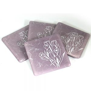 Tulips in white, on lavender coaster set