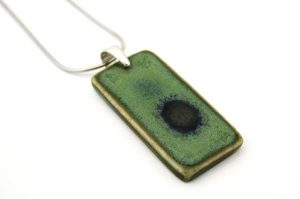 Green ceramic pendant by Iris Dorton Pottery