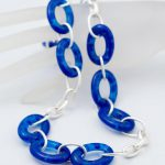 Blue Glass Link Necklace